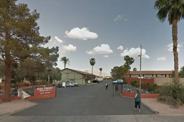 A woman was shot to death at the Park Forest Apartments near downtown Las Vegas, Thursday night, Sept. 2, 2015. (Google StreetView)