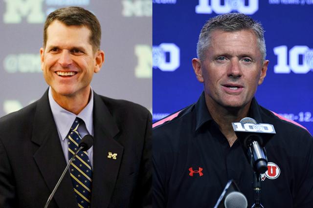 University of Michigan football coach Jim Harbaugh (left) and University of Utah Utes football coach Kyle Whittingham (right). (USA Today Sports file photo)