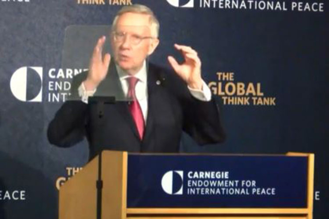 Senate Democratic leader Sen. Harry Reid of Nevada delivers a speech on the Iran nuclear agreement Sept. 8 before the Carnegie Endowment for International Peace in Washington, D.C. (Screengrab/You ...