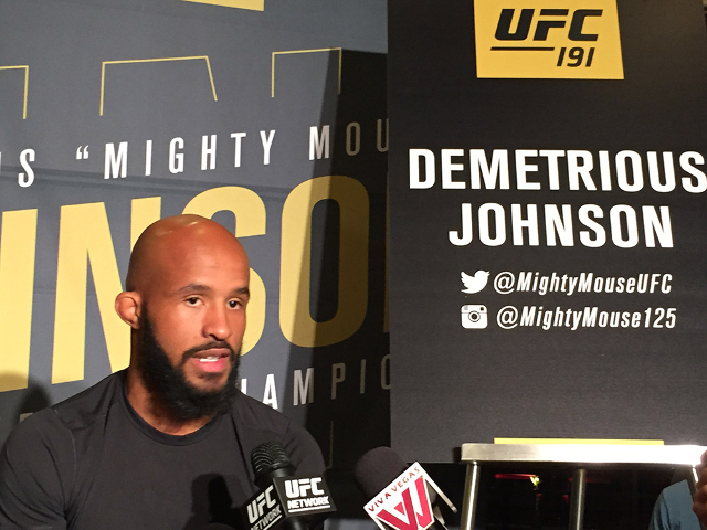"UFC 191 headliner Demetrious ""Mighty Mouse"" Johnson speaks to the media Thursday at the MGM Resort and Casino (Chris Kudialis/Las Vegas Review-Journal, @kudialisrj)"