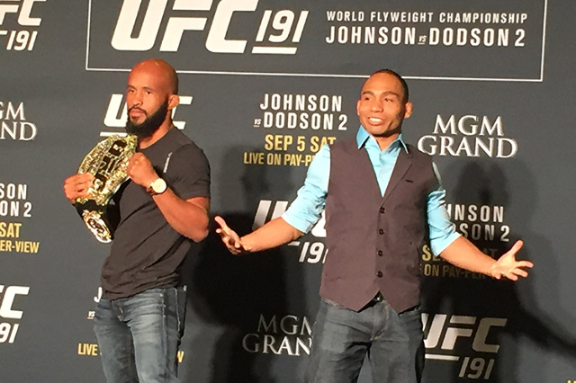 UFC 191 headliners Demetrious Johnson and John Dodson pose for the media Thursday at the MGM Resort and Casino (Chris Kudialis/Las Vegas Review-Journal, @kudialisrj)