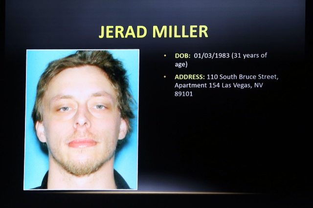 A video screen image of Jerad Miller is seen during a Public Fact Finding review in the June 8 2014 ambush of officers Alyn Beck and Igor Soldo by two anti-government zealots, Jerad and his wife A ...