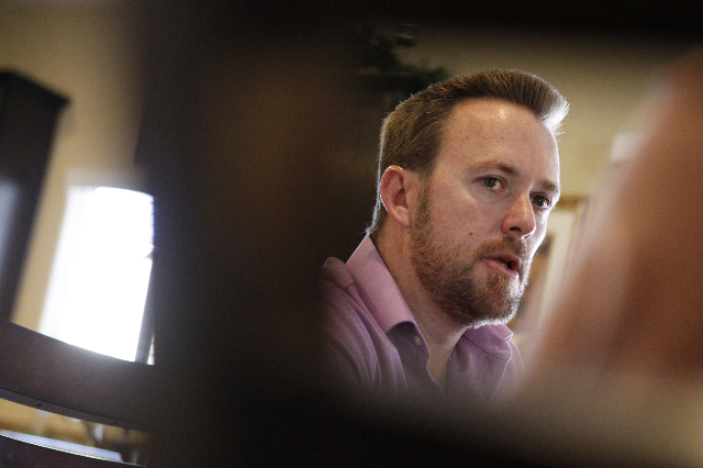 Jason Lamberth is interviewed about the wrongful death lawsuit his family is preparing against the Clark County School District at their home in Henderson Tuesday, Oct. 21, 2014. (Erik Verduzco/La ...