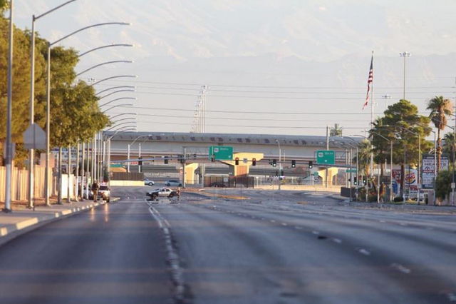 A Metro officer was shot early Friday morning near Rainbow Boulevard and Alta Drive. (Kevin Cannon/Las Vegas Review-Journal)