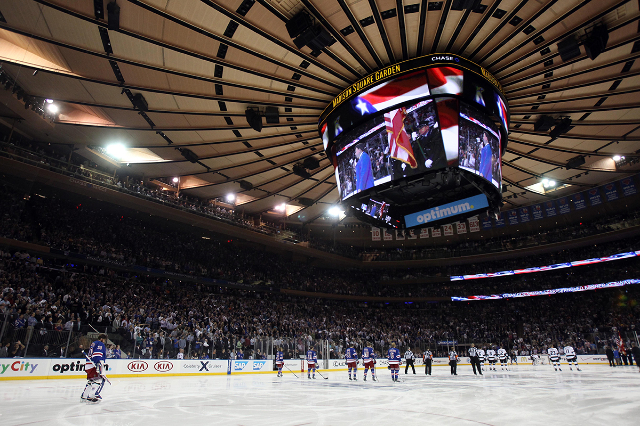 Jun 11, 2014; New York, NY, USA; A general view during the playing of the national anthem before game four of the 2014 Stanley Cup Final between the Los Angeles Kings and New York Rangers at Madis ...