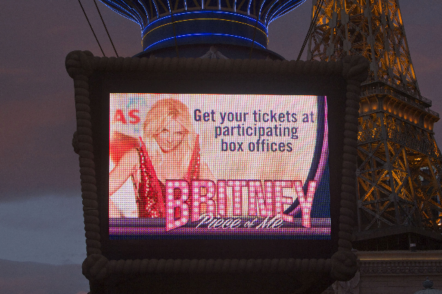 A video screen at the Paris Las Vegas hotel and casino advertises pop singer Britney Spears' new show in Las Vegas, Nevada December 3, 2013. Spears is making preparations for the debut of he ...