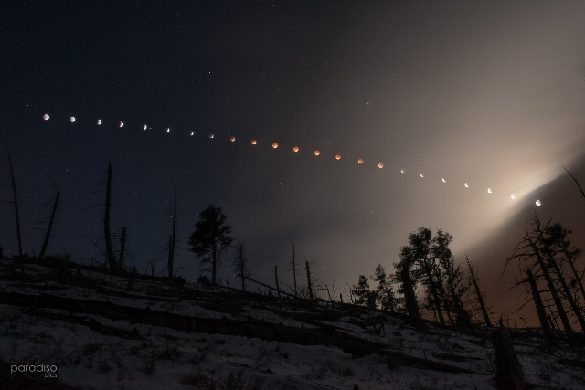 Nate Paradiso created this composite image of the lunar eclipse on Tuesday, April 15, 2014 as seen from the foothills of Boulder, Colorado. (CNN)