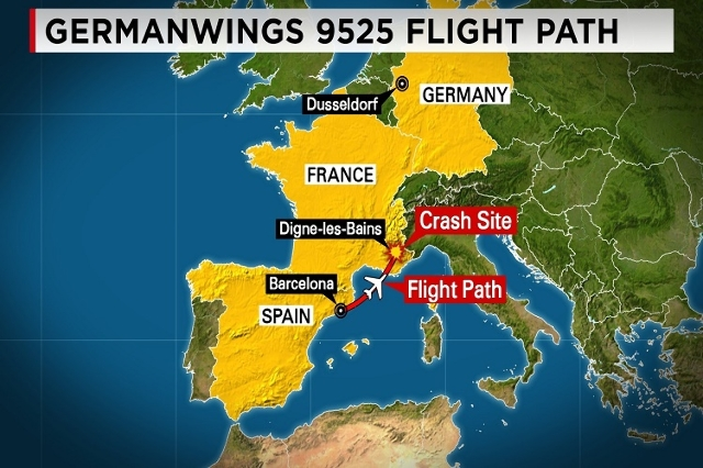 This map depicts the flight path of the Germanwings Flight 9525 that crashed in mountainous France on Tuesday, March 24, 2015. (CNN)