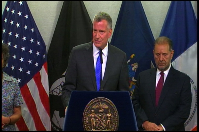 During a press conference on Monday, Mayor Bill de Blasio said that while he's uncertain whether the city can break existing contracts with Donald Trump, he is certain there will be no more  ...