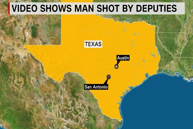 Cell phone video obtained by CNN affiliate KSAT appears to show sheriff's deputies in Bexar County, Texas, shooting and killing Gilbert Flores, 41, Friday, August 28, 2015. (CNN)