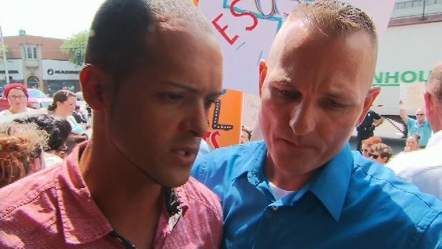Jonathan Beebe-Franqui of Pensacola, Florida, speaks to CNN following a judge ordering Rowan County, Kentucky, Clerk Kim Davis into custody after she failed to issue same-sex marriage licenses. (CNN)
