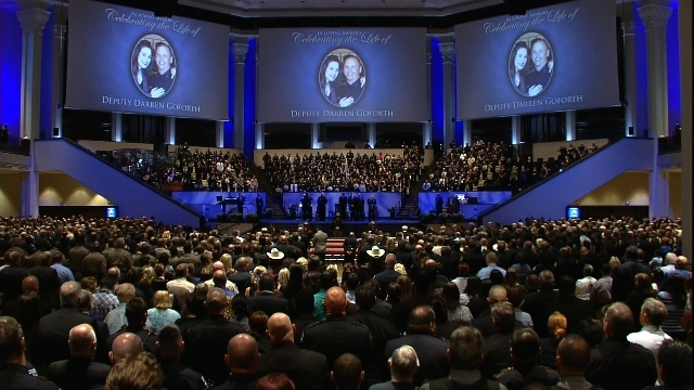 Hundreds gathered at Second Baptist Church in Houston, Texas, on September 4, 2015, to honor the life of Harris County Deputy Darren Goforth. Goforth was shot and killed August 28 by a gunman at a ...