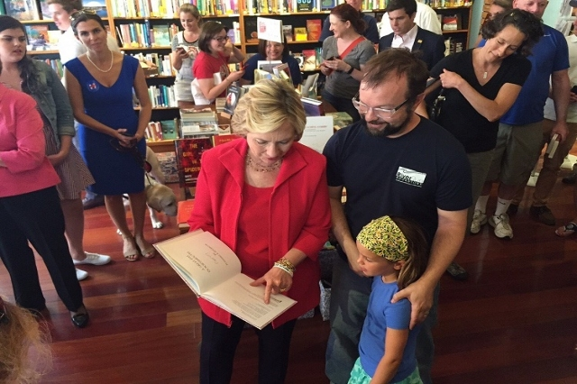 Hillary Clinton greets voters at a book store in Portsmouth, NH on Saturday, September 5, 2015. (Pool/CNN)
