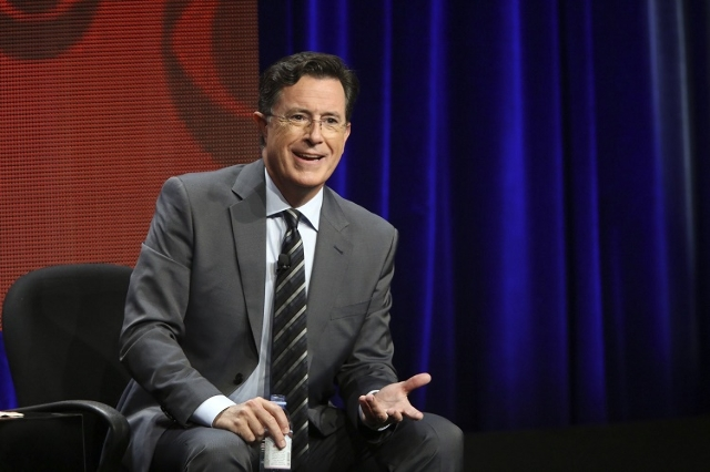 "Stephen Colbert, host of ""The Late Show with Stephen Colbert"" appears at the TCA Summer Press Tour 2015 on August 10, 2015. (CBS/CNN)"