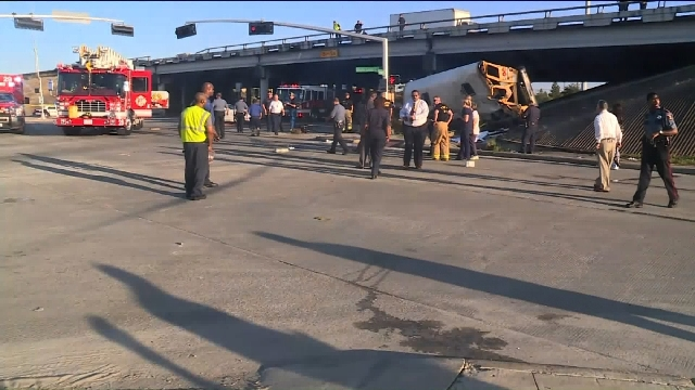 A bus headed for a Houston high school crashed Tuesday, Sept. 15, 2015, morning near a highway, killing two students and seriously injuring two other students and the driver, school officials said ...