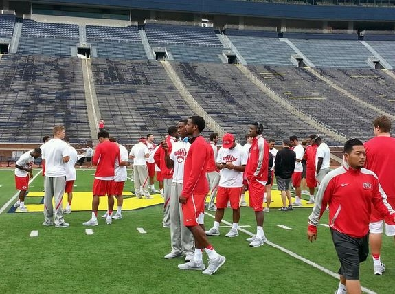 UNLV football players did a walk-through inside Michigan Stadium on Friday morning in preparation for their game on Saturday. (Mark Anderson/Las Vegas Review-Journal)
