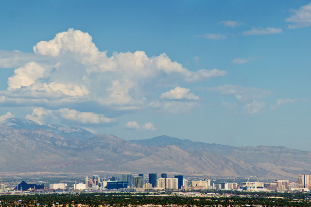 Clouds are seen above the Las Vegas Strip and the Spring Mountains on Thursday, Aug. 27, 2015. (Daniel Clark/Las Vegas Review-Journal)