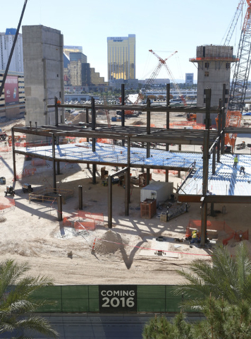 The construction site of the MGM Resorts International and AEG indoor arena located behind the New York-New York casino-hotel in Las Vegas is seen Thursday, Nov. 20, 2014. The arena is scheduled t ...