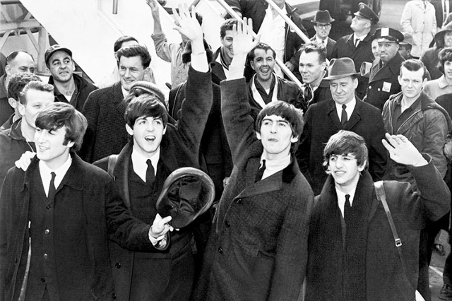 The Beatles arrive at John F. Kennedy International Airport, February 7, 1964.. (United Press International, photographer unknown)