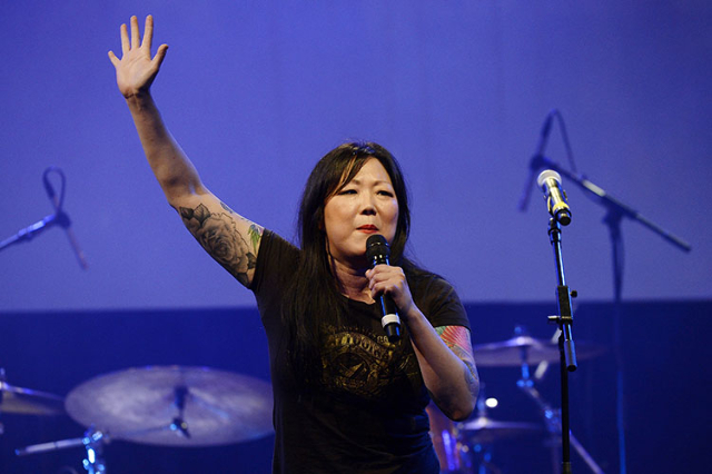 "Host comedian Margaret Cho speaks during the L.A. Gay & Lesbian Center's annual ""An Evening With Women"" event in Beverly Hills, California May 10, 2014. (Kevork Djansezian/Reuters)"