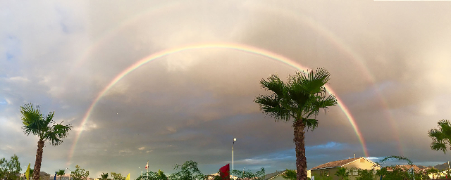 Rainbows are seen over Henderson on Tuesday. (Andrew Freeman/via At The Scene)