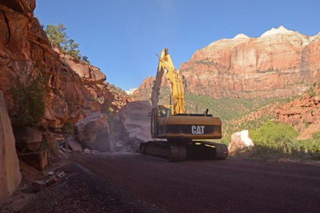 Utah State Route 9 is closed through Zion National Park after a major rock fall, officials said Wednesday. (National Park Service)