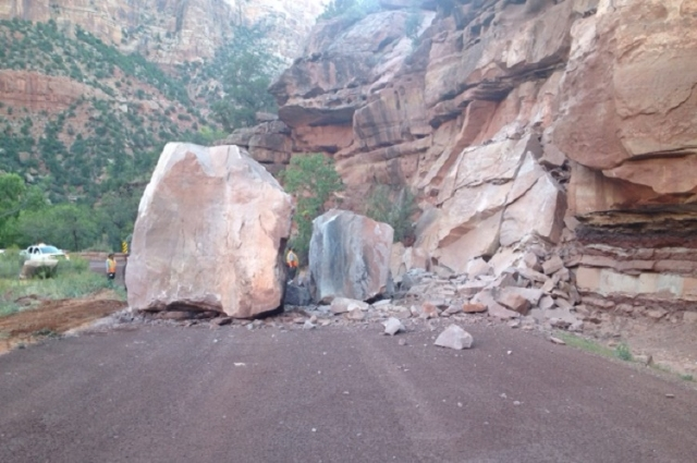 A rockslide closed Utah State Route 9 through Zion National Park on Wednesday, Sept. 23, 2015. (Zion National Park)