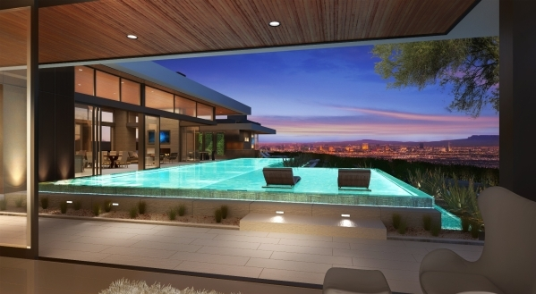 This artist's rendering shows SB Architects' showcase home it will build at at Ascaya  in Henderson. The new luxury community is known for its Las Vegas Valley views . (Courtesy)
