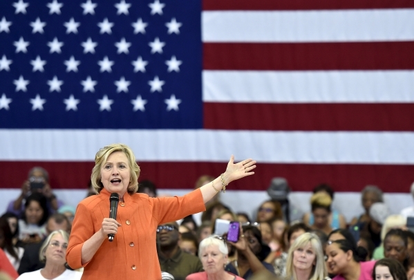 Democratic presidential candidate Hillary Clinton speaks during a town hall meeting in Las Vegas, Nevada August 18, 2015. (David Becker/Reuters)