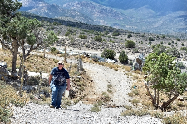 Executive director Lakota Spoolman of the Desert Rescue Animal Sanctuary walks across the sanctuary property in Cold Creek on Friday, Aug. 28, 2015. (David Becker/Las Vegas Review-Journal)