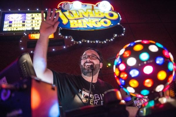Bingo caller Chady Helou calls numbers during Rocket Bingo at Red Rock Resort in Las Vegas on Thursday, Aug. 27, 2015. Rocket Bingo features a DJ, dancing, shots, and nightclub atmosphere. Jacob K ...