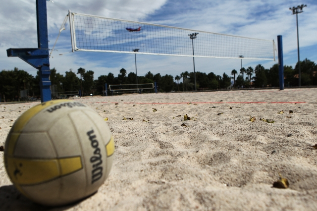 A volleyball courts at Sunset Park in Las Vegas is seen on Sunday, Aug. 30, 2015. Volleyball players are upset about the Clark County Parks and Recreation Department's move to put coarse san ...