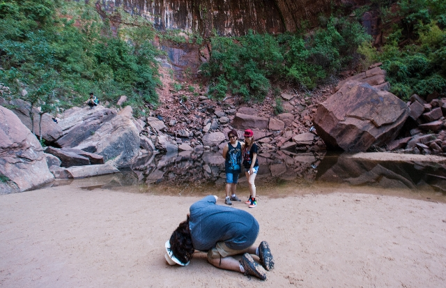 People pose for a photo at the Upper Emerald Pool at Zion National Park in Utah on Sunday, Sept. 6, 2015. Chase Stevens/Las Vegas Review-Journal Follow @csstevensphoto