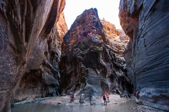 """Hikers walk through the """"Wall Street"""" area along the Virgin River in the Narrows at Zion National Park in Utah on Monday, Sept. 7, 2015. Chase Stevens/Las Vegas Review-Journal Follow @cs ..."""