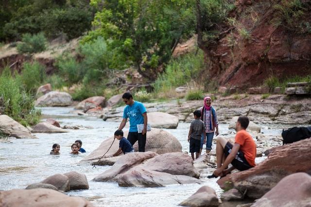 People enjoy the Virgin River at Zion National Park in Utah on Sunday, Sept. 6, 2015. Chase Stevens/Las Vegas Review-Journal Follow @csstevensphoto