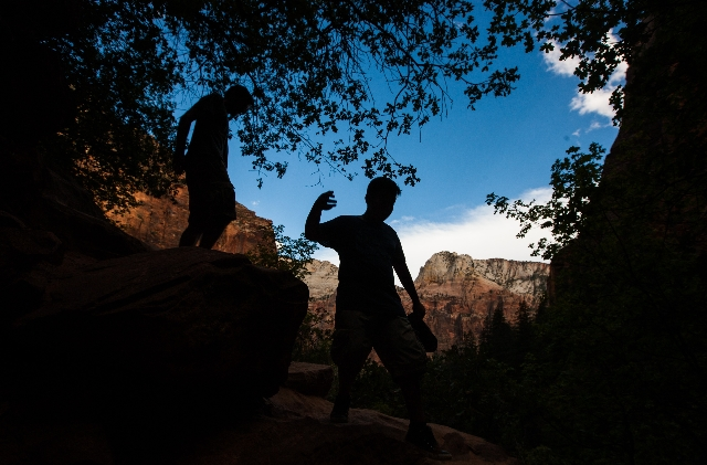 Hikers make their way along the Kayenta trail at Zion National Park in Utah on Sunday, Sept. 6, 2015. Chase Stevens/Las Vegas Review-Journal Follow @csstevensphoto