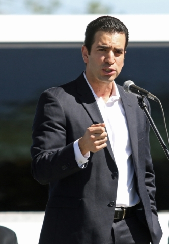 Sen. Ruben Kihuen speaks during a ceremony at the newly renovated Joe Kneip Park Thursday, Sept. 17, 2015, in North Las Vegas. Community members, local politicians and sponsors celebrated a grand  ...