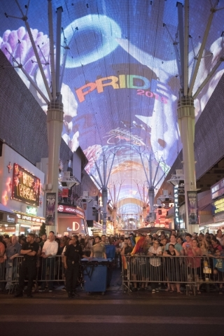 The audience is shown at Fremont Street Experience during the 17th Annual PRIDE Night Parade in downtown Las Vegas Friday, Sept. 18, 2015. Jason Ogulnik/Las Vegas Review-Journal