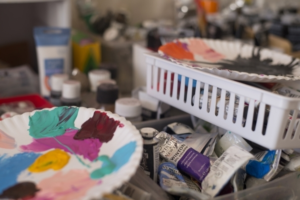 Paint is ready for use inside Pete Castro's home studio in northwest Las Vegas on Saturday, Sept. 19, 2015. Castro is self-taught and has gained enough notoriety to secure an exhibition in N ...