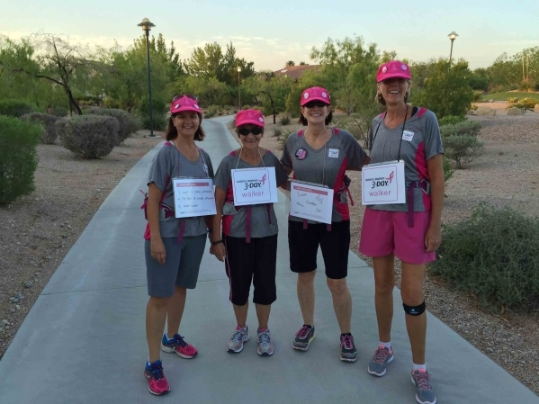 From left are Las Vegas residents Susan Schilder, Fay Orshoski, Tammra Brunner and Lori Candalino, seen July 18, 2015 at The Trails Park in Summerlin. Summerlin residents are used to seeing them,  ...