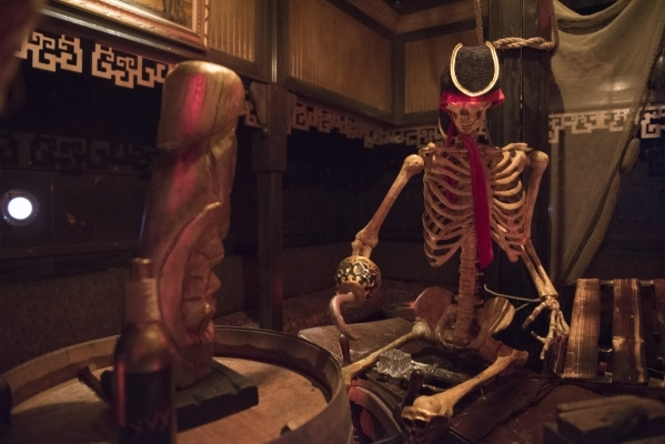 Animatronic pirate skeleton Captain William Tobias Faulkner is shown at The Golden Tiki in Las Vegas Wednesday, Sept. 16, 2015. Jason Ogulnik/Las Vegas Review-Journal