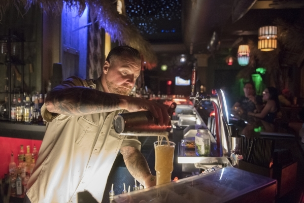 Bartender Mikel Kortan prepares a Kahuna Swizzle at The Golden Tiki in Las Vegas Wednesday, Sept. 16, 2015. Jason Ogulnik/Las Vegas Review-Journal