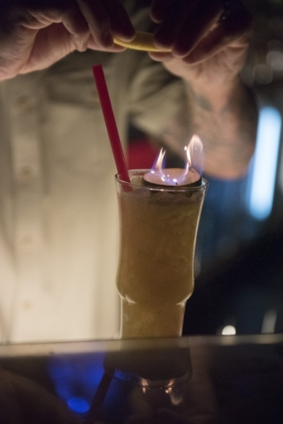 Bartender Mikel Kortan prepares a Navy Grog at The Golden Tiki in Las Vegas Wednesday, Sept. 16, 2015. Jason Ogulnik/Las Vegas Review-Journal