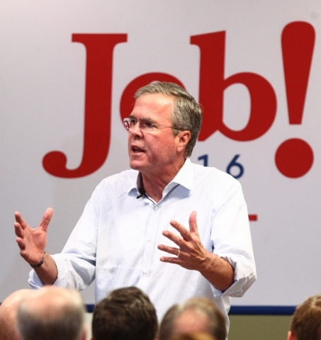 Republican presidential candidate and former Florida Gov. Jeb Bush speaks at the Veterans Memorial Leisure Services Center in Las Vegas on Thursday, Sept. 17, 2015. (Chase Stevens/Las Vegas Review ...