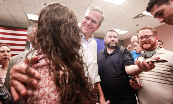 Republican presidential candidate and former Florida Gov. Jeb Bush greets supporters after speaking at the Veterans Memorial Leisure Services Center in Las Vegas on Thursday, Sept. 17, 2015. (Chas ...