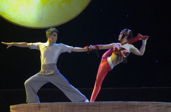 "Working high above the floor, acrobats from China's Nationa Circus show off their artistry during ""Peking Dreams,"" which brings the troupe to UNLV's Artemus Ham Hall Friday.  ..."