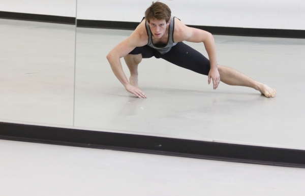 Morgan Stillman is reflected in a mirror during a rehearsal of choreographer Ariel Triunfo's piece for the annual A Choreographers' Showcase at Nevada Ballet Theatre Friday, Sept. 25,  ...