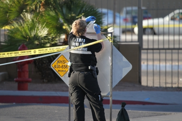 A Las Vegas crime scene investigator looks for finger prints at the scene where a body was found inside a water vault in front of The Suites apartments near the intersection of S. Nellis Boulevard ...