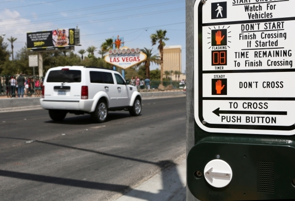 A control panel for a new crosswalk on Las Vegas Boulevard at the historic Welcome to Fabulous Las Vegas sign can be seen on the south end of the Strip on Thursday, April 23, 2015, in Las Vegas. ( ...
