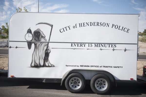 The Henderson Police Department's Every 15 Minutes trailer is shown at Green Valley High School in Henderson Thursday, Oct. 1, 2015. Jason Ogulnik/Las Vegas Review-Journal